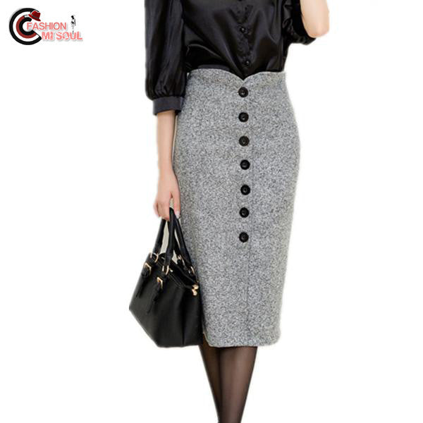 Chic High Waist Pencil Woolen Single Breasted Knee Length Skirt