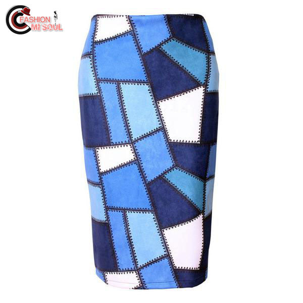 Trendy Leather Plaid Pattern Print High Waist Women Knee Length Skirts
