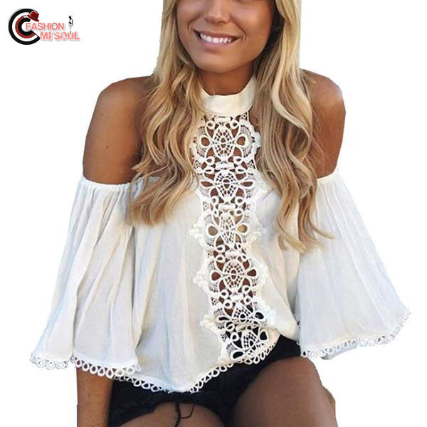 Chic Off Shoulder Sleeve Ruffles Lace Crochet Short Crop Top