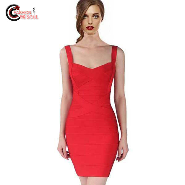 Sexy Spaghetti Strap Rayon HL Elastic Celebrity Bandage Bodycon Mini Club Party Dresses