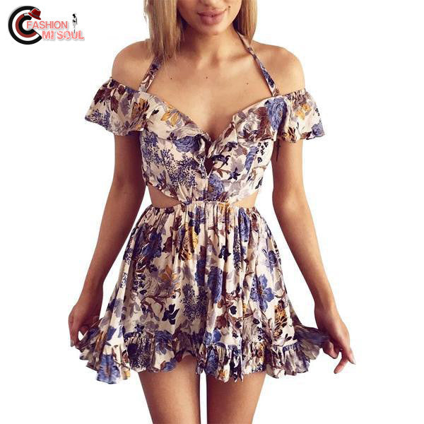 Sexy Hollow out beach Halter off shoulder Floral print high waist dress