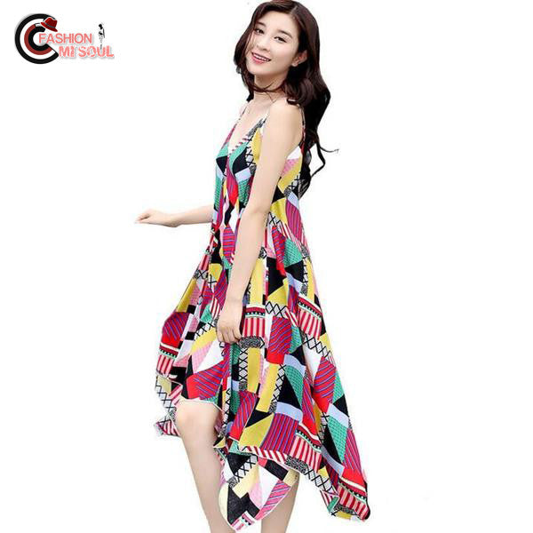 Summer Print Design Expansion Geometry Loose Female Beach Dress