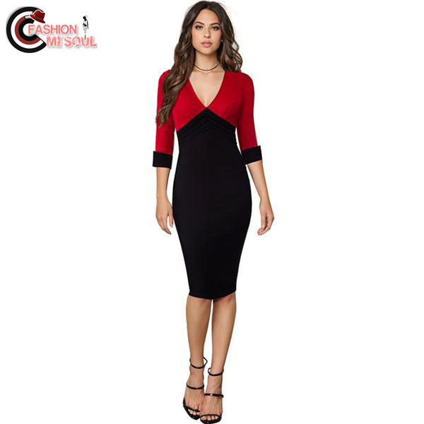 Sexy V Patchwork Silm Business Office Bodycon Pencil Casual women Work Dress