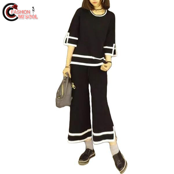 Fashion knitting loose striped top and loose Calf-Length female 2 piece Pants