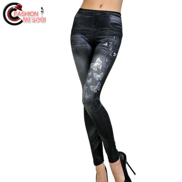 Sexy High Waist Stretchy Butterfly Printed Slim Jeans
