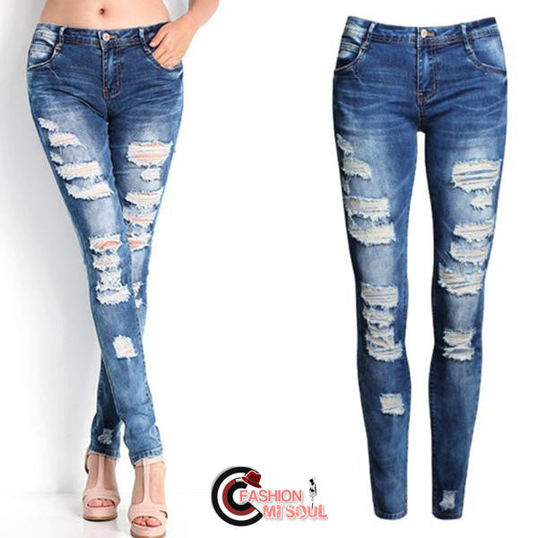 Sexy Low Waist Washed Ripped Skinny Light Blue Jeans