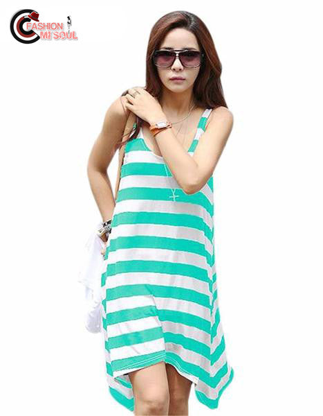 Sexy Retail Girl Casual Stripe Irregular Sleeveless Summer Dresses Beach