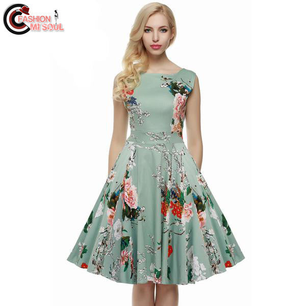 Women Rockabilly Floral Swing Summer Dress