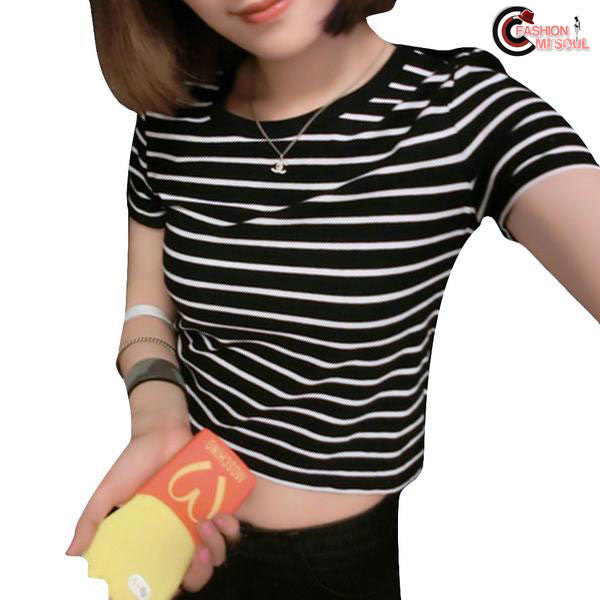 Sexy Crop Striped Sleeved Short Slim Kpop Tops