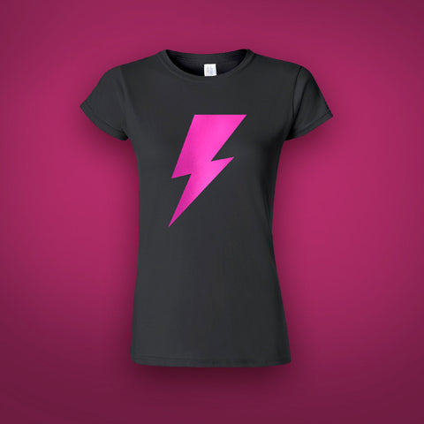 A Bowie Celebration 2020 Pink Lightning Bolt Ladies T-Shirt