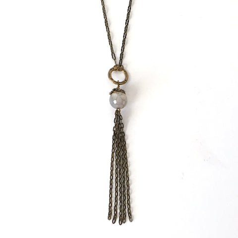 Bronze Tassel and Quartz Bead Necklace