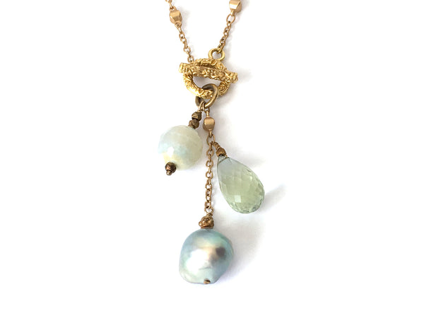 Gold Gem Trio Necklace