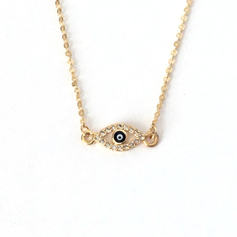 Gold Tiny Evil Eye Layering Necklace