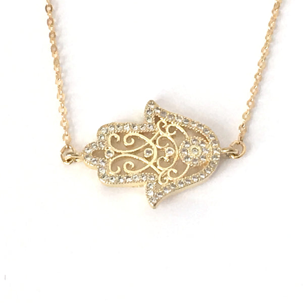 Gold Filigree and Crystal Hamsa Layering Necklace
