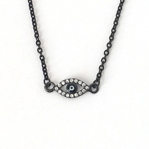 Gunmetal Tiny Evil Eye Layering Necklace