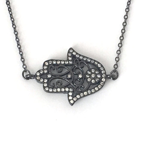 Gunmetal Filigree and Crystal Hamsa Layering Necklace