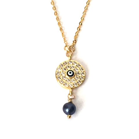 Gold and Crystal Round Evil Eye Layering Necklace