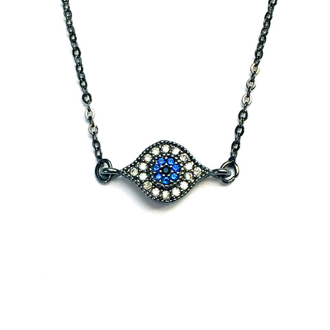 Small Gunmetal and Crystal Evil Eye Layering Necklace