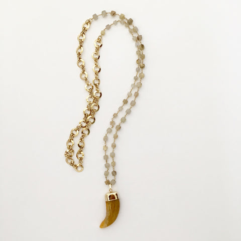 Golden Agate Bear Claw Necklace