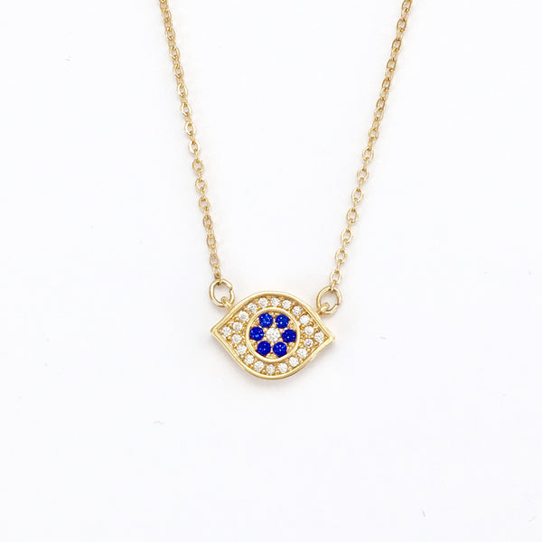 Gold and Crystal Evil Eye Layering Necklace