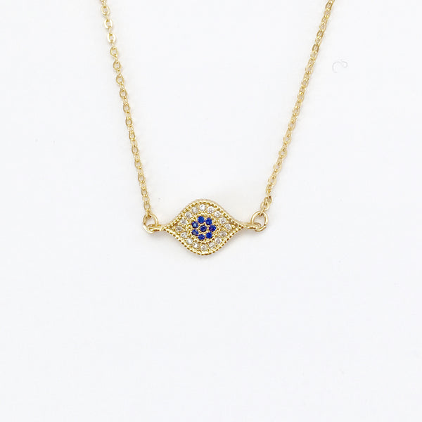 Small Gold and Crystal Evil Eye Layering Necklace