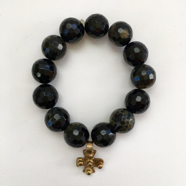 Brazilian Agate and Gold Bracelet