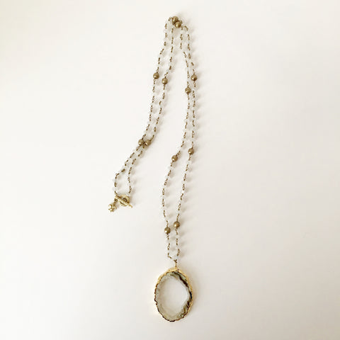 Gold-Rimmed Druzy Agate on Moonstone and Gold Bead Necklace