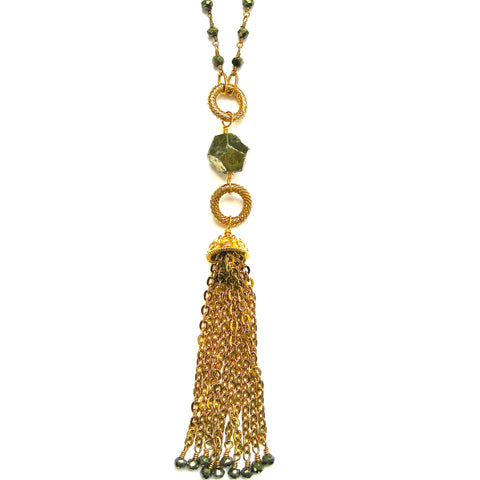 Gold Vermeil and Pyrite Beaded Tassel Necklace
