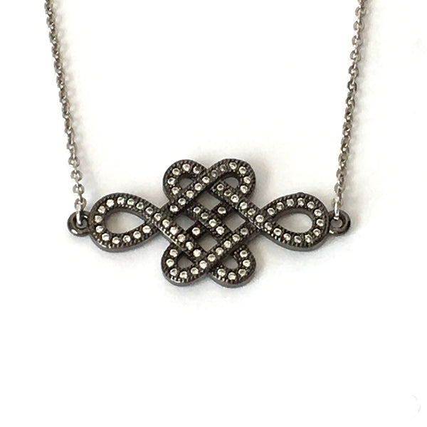 Oxidized Silver and Crystal Infinity Knot Layering Necklace