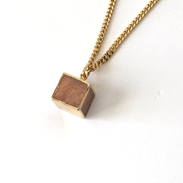 Pink Agate and Gold Cube Necklace