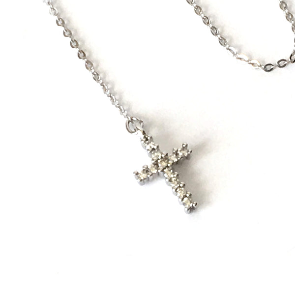 Silver and Crystal Cross 'Y' Layering Necklace