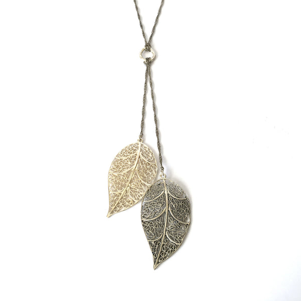 Silver Filigree Leaves Necklace