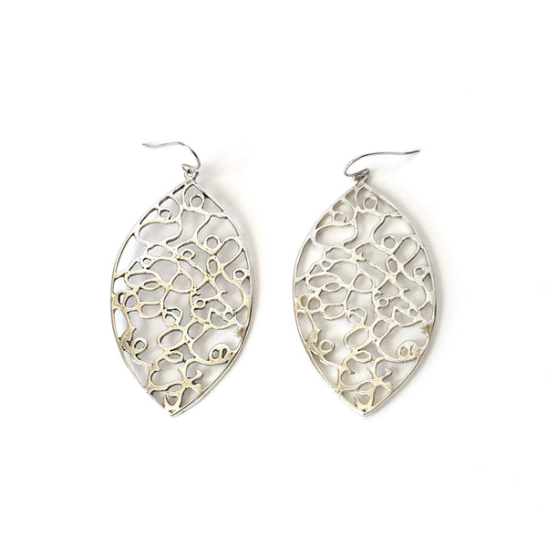 Silver Marquis-shaped Earrings