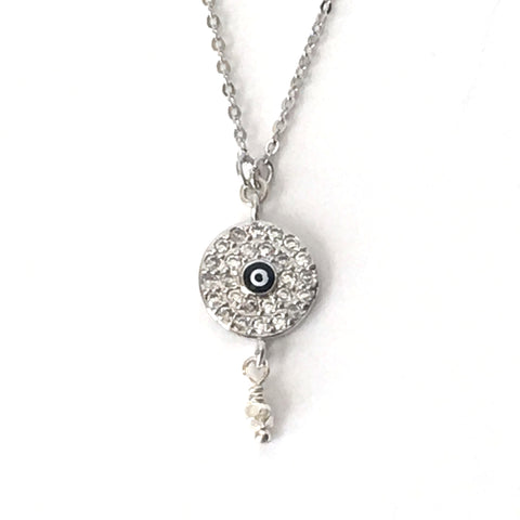 Silver and Crystal Round Evil Eye Layering Necklace