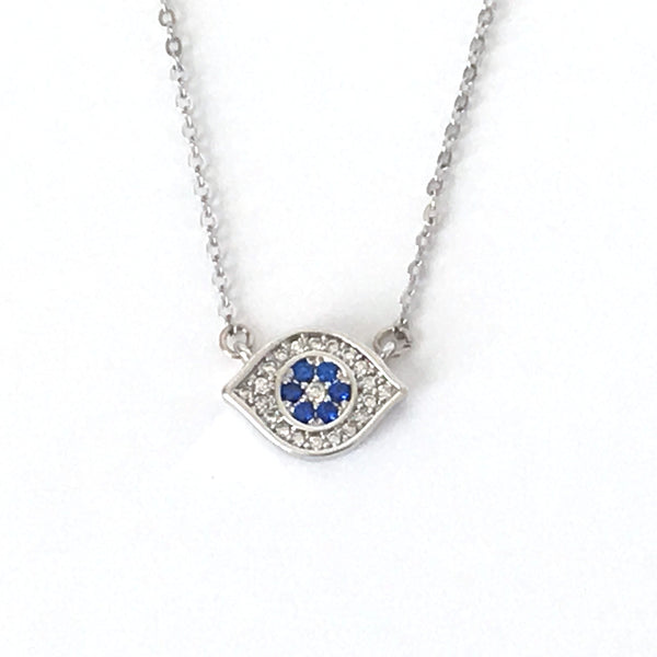 Silver and Crystal Evil Eye Layering Necklace