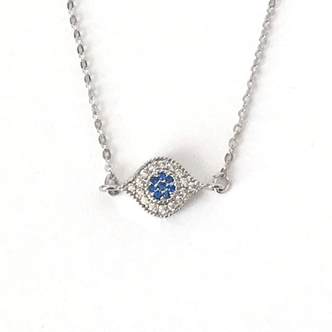 Small Silver and Crystal Evil Eye Layering Necklace