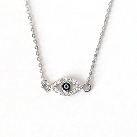 Silver Tiny Evil Eye Layering Necklace