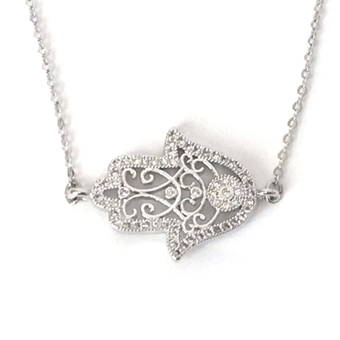 Silver Filigree and Crystal Hamsa Layering Necklace