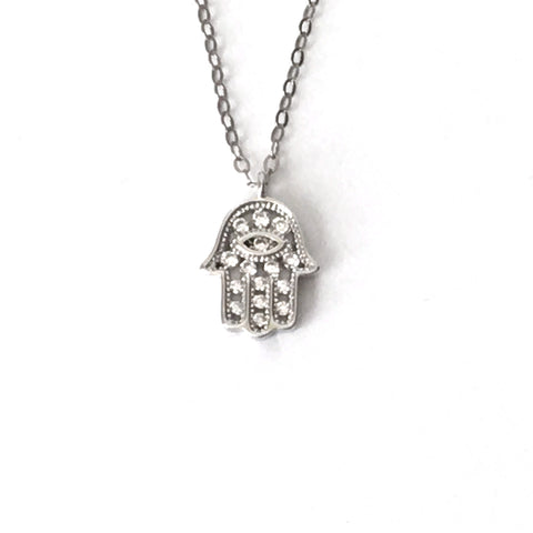Silver and Crystal Vertical Hamsa Necklace