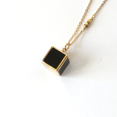 Black Onyx and Gold Cube Necklace