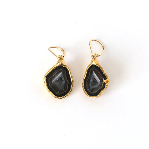 Druzy Agate and Gold Drop Earrings
