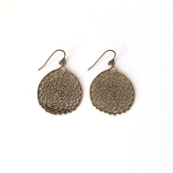 Bronze Filigree Sea Fan Earrings