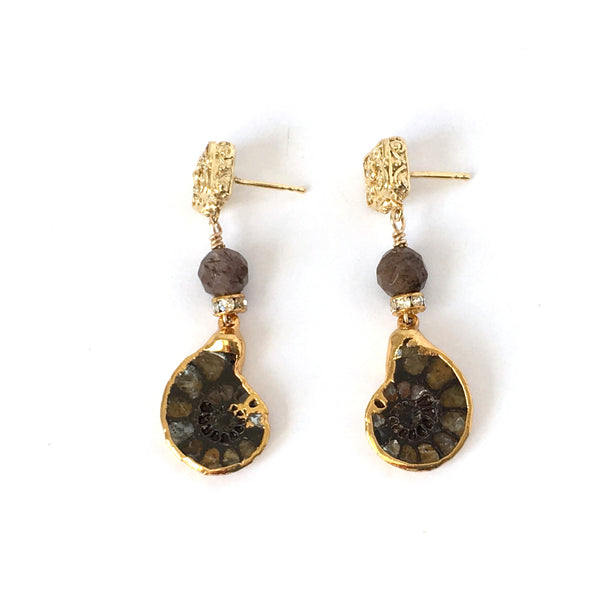 Fossilized Snail and Gold Post Earring