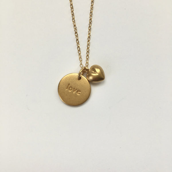 Gold 'love' Stamped Disc Necklace with Puff Heart