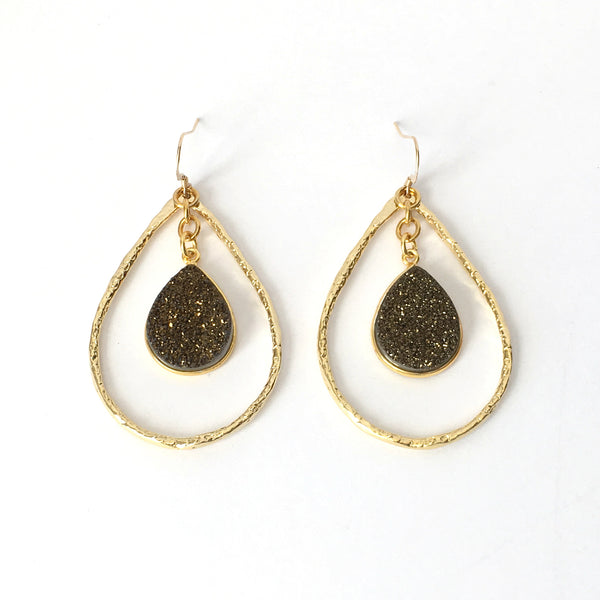 Gold and Bronze Druzy Teardrop Hoop Earrings