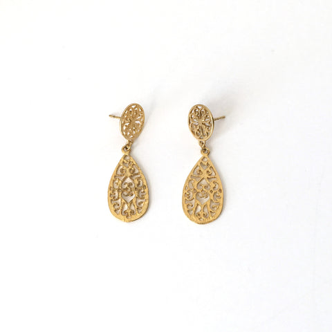 Gold Filigree Teardrop Post Earrings