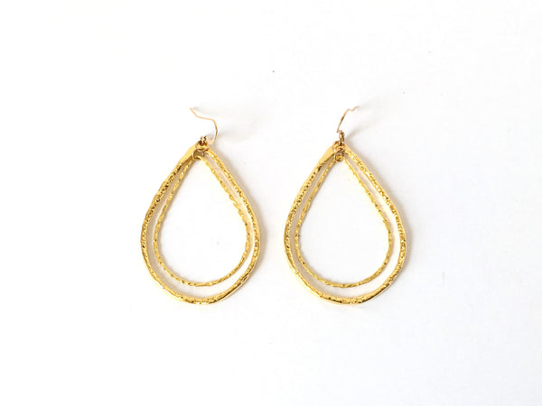 Gold Double Teardrop Hoop Earrings
