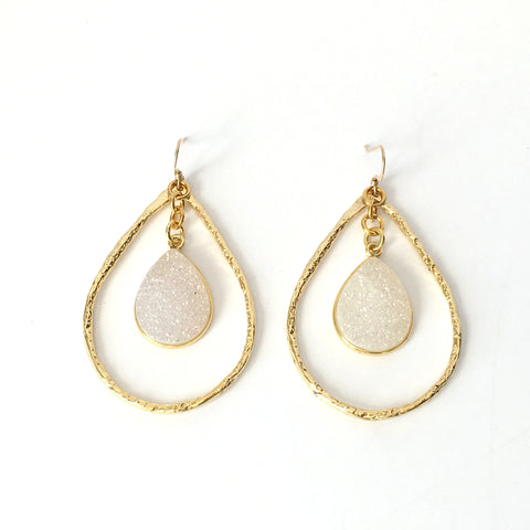 Gold and Natural Druzy Teardrop Hoop Earrings