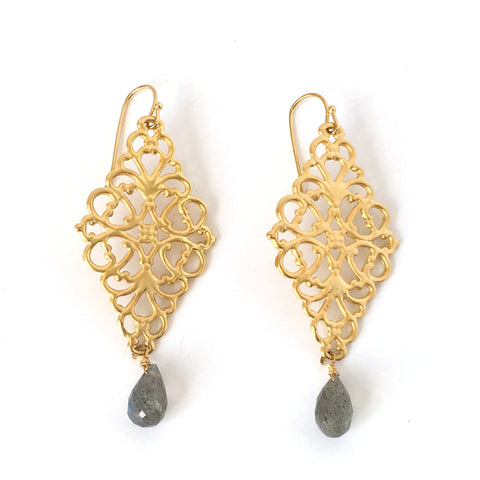 24KT Gold Vermeil Filigree and Mystic Labradorite Earrings