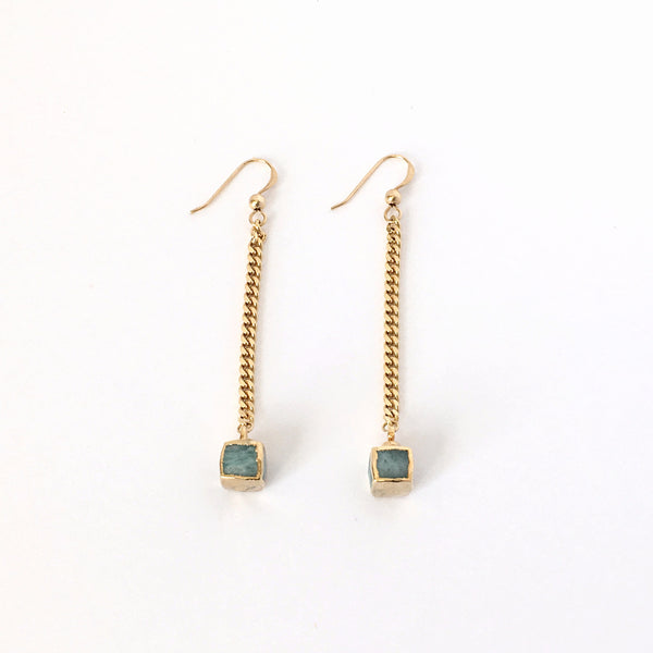 Earrings-Aqua Green Agate and Gold Swinging Cubes